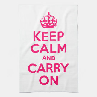 Hot Pink Keep Calm and Carry On Tea Towel