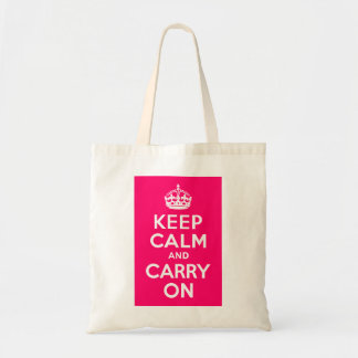 Hot Pink Keep Calm and Carry On Tote Bag