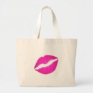 Hot Pink Kiss Large Tote Bag