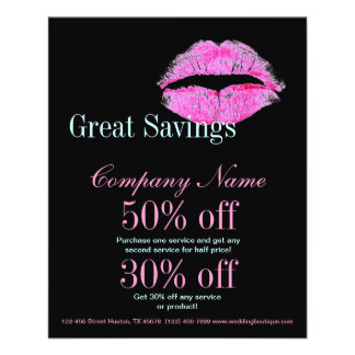 hot pink kiss Makeup Artist Business 11.5 Cm X 14 Cm Flyer