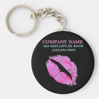 hot pink kiss Makeup Artist Business Basic Round Button Key Ring