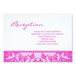 Hot Pink Lace and White Reception Info Card 9 Cm X 13 Cm Invitation Card