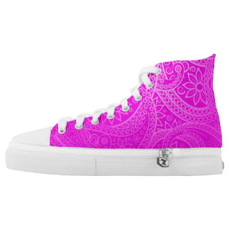 Hot Pink Lace Design Printed Shoes