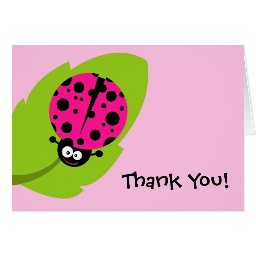 Hot Pink Ladybug Greeting Cards