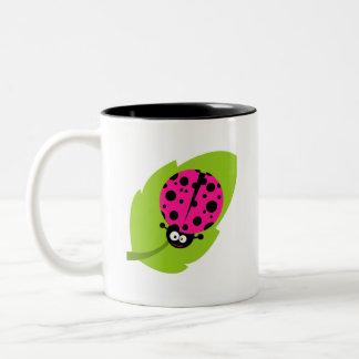 Hot Pink Ladybug Two-Tone Coffee Mug