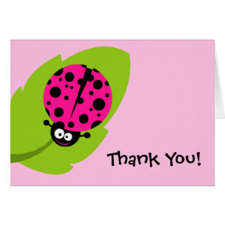 Hot Pink Ladybug Note Card