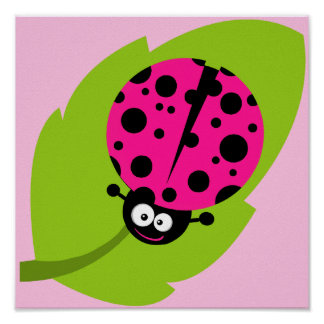 Hot Pink Ladybug Poster