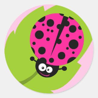 Hot Pink Ladybug Round Sticker