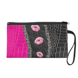 Hot Pink Leather Lips Wristlet Clutches