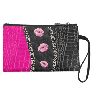 Hot Pink Leather Lips Wristlet Clutch