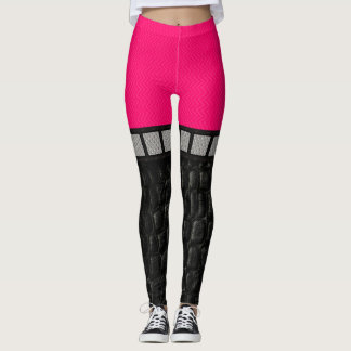 Hot Pink Leather Metal Leggings Knee High Look