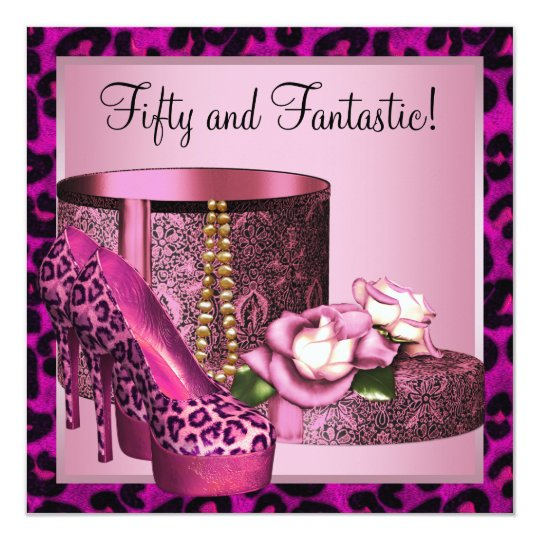 Hot Pink Leopard 50th Birthday Party Card