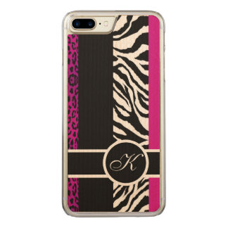 Hot Pink Leopard and Zebra Animal Print Monogram Carved iPhone 8 Plus/7 Plus Case