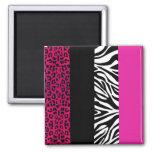 Hot Pink Leopard and Zebra Animal Print Square Magnet