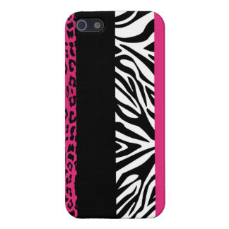 Hot Pink Leopard and Zebra Custom Animal Print Case For iPhone 5/5S