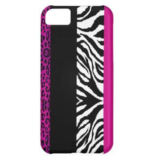 Hot Pink Leopard and Zebra Custom Animal Print iPhone 5C Case