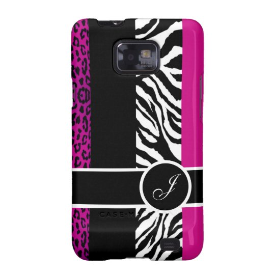 Hot Pink Leopard and Zebra Monogram Animal Print Samsung Galaxy SII Cases