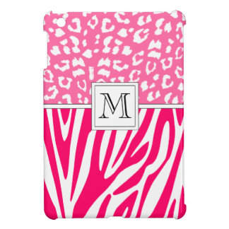 Hot Pink Leopard and Zebra Print Custom Monogram iPad Mini Case
