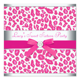 Hot Pink Leopard Bow Pink Leopard Sweet 16 Party 13 Cm X 13 Cm Square Invitation Card