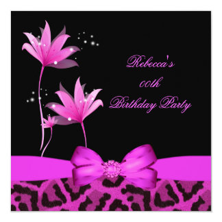 Hot Pink Leopard Flower Birthday Party 13 Cm X 13 Cm Square Invitation Card