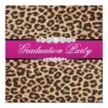Hot pink Leopard Graduation Party Personalised Announcements