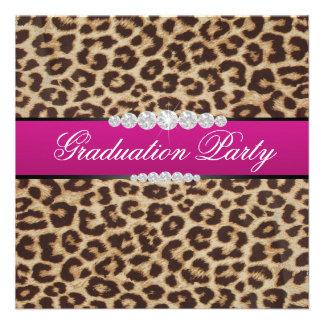 Hot pink Leopard Graduation Party Invitations