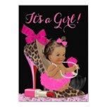 Hot Pink Leopard High Heel Shoe Ethnic Baby Shower 11 Cm X 16 Cm Invitation Card