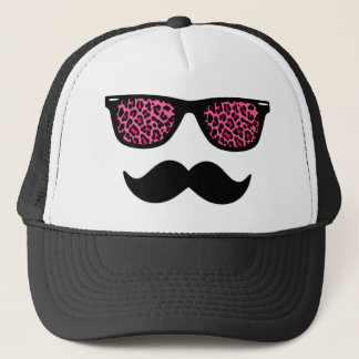Hot Pink Leopard Mustache Design Trucker Hat
