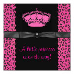 Hot Pink Leopard Princess Girl Baby Shower Invitations