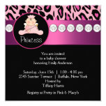 Hot Pink Leopard Princess Girl Baby Shower Invites
