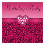 Hot Pink Leopard Print & Bling Heart Birthday 13 Cm X 13 Cm Square Invitation Card
