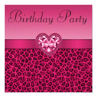 Hot Pink Leopard Print & Bling Heart Birthday 13 Cm X 13 Cm Square Invitation Card