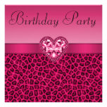 Hot Pink Leopard Print & Bling Heart Birthday Personalized Invitations