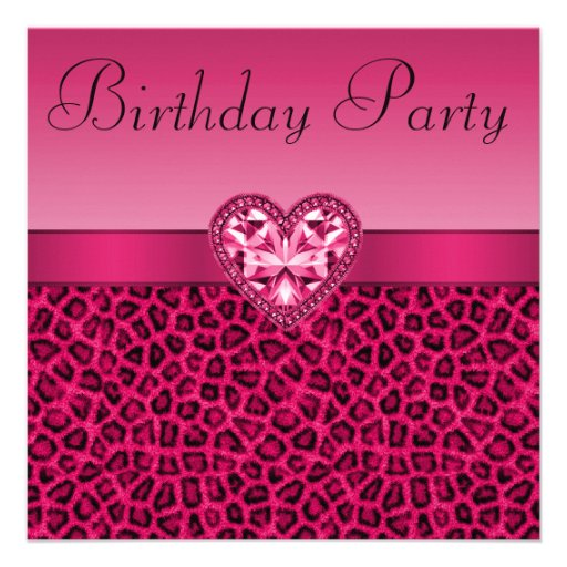 Hot Pink Leopard Print & Bling Heart Birthday Personalized Invite