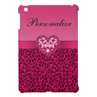 Hot Pink Leopard Print & Bling Heart Case For The iPad Mini