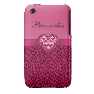Hot Pink Leopard Print & Bling Heart iPhone 3 Case
