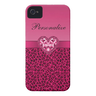 Hot Pink Leopard Print & Bling Heart iPhone 4 Case-Mate Cases