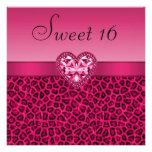 Hot Pink Leopard Print & Bling Heart Sweet 16 Custom Invite