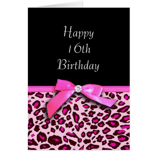 Hot pink leopard print Happy Sweet 16th Birthday Greeting Cards