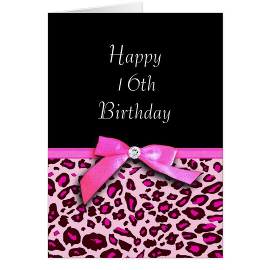 Hot pink leopard print Happy Sweet 16th Birthday
