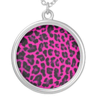 Hot Pink Leopard Print Round Pendant Necklace