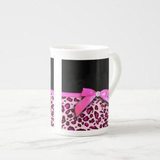 Hot pink leopard print ribbon bow graphic bone china mug