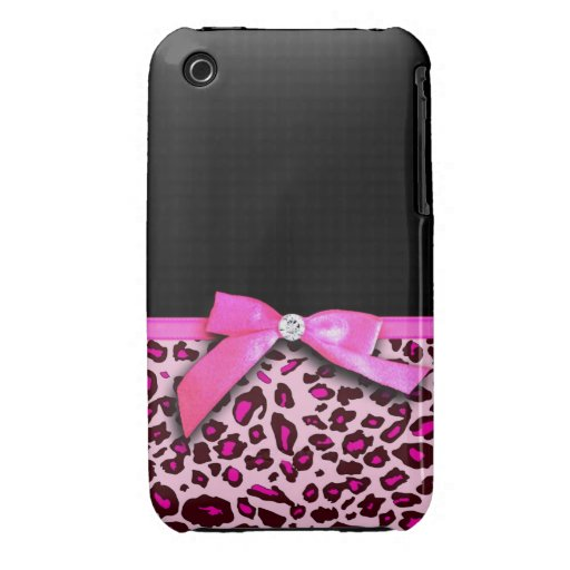 Hot pink leopard print ribbon bow graphic Case-Mate iPhone 3 case