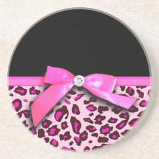 Hot pink leopard print ribbon bow graphic coaster