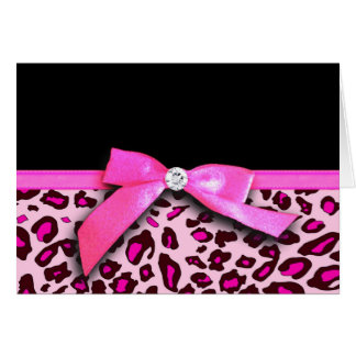 Hot pink leopard print ribbon bow graphic greeting card