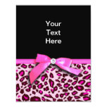 Hot pink leopard print ribbon bow graphic 11 cm x 14 cm invitation card
