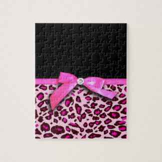 Hot pink leopard print ribbon bow graphic jigsaw puzzles