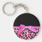 Hot pink leopard print ribbon bow graphic key ring