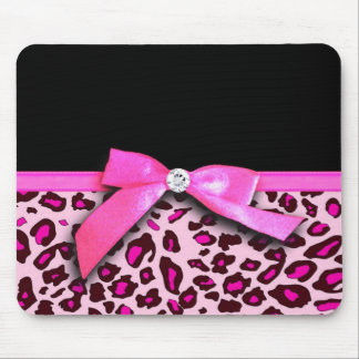 Hot pink leopard print ribbon bow graphic mouse mat