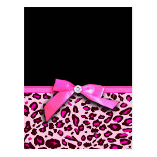 Hot pink leopard print ribbon bow graphic postcard